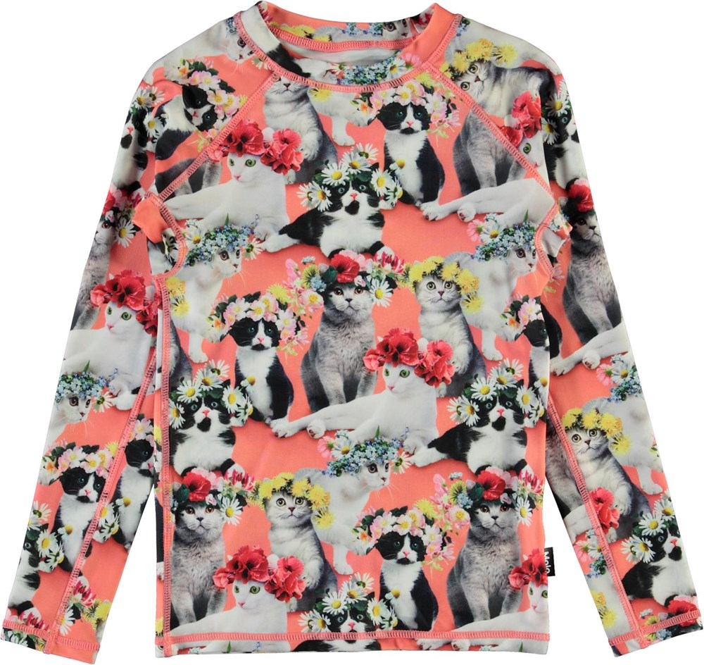 Neptune LS - Flower Power Cats - UV svømme t-shirt med katte