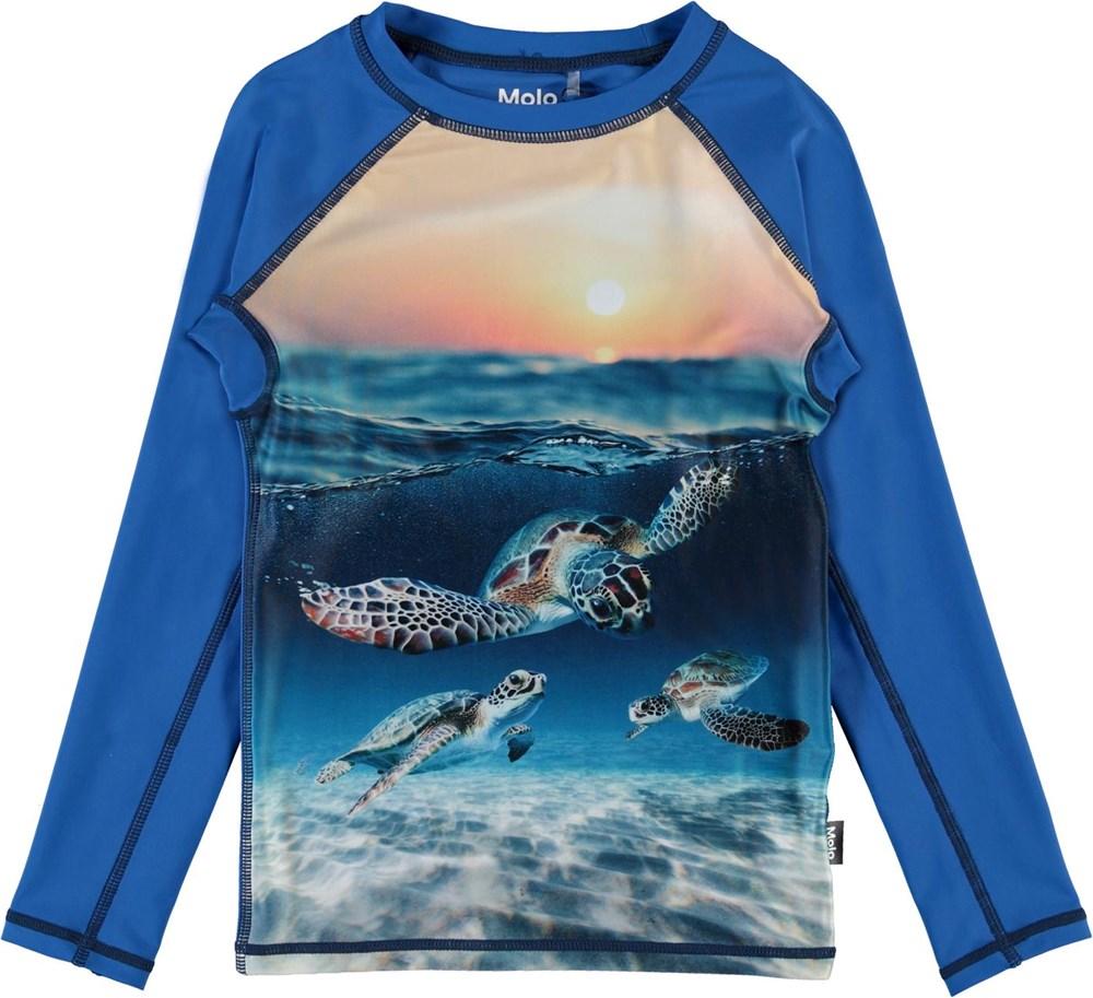 Neptune LS - Sea Turtle Sunset - UV svømme t-shirt med skildpadder