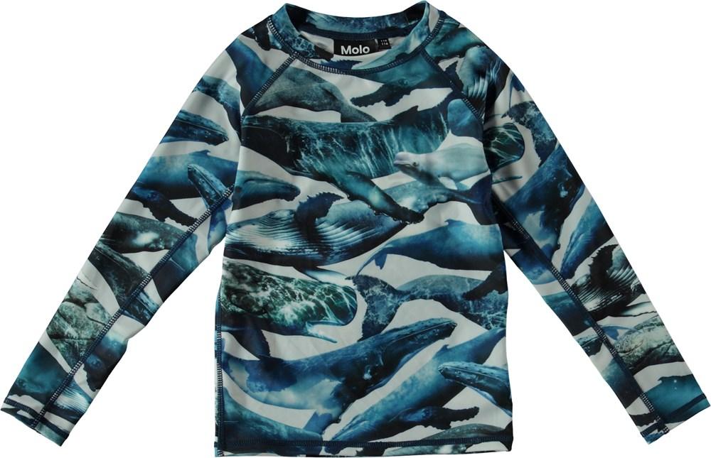 Neptune LS - Whales - Langærmet svømmebluse med hvaler