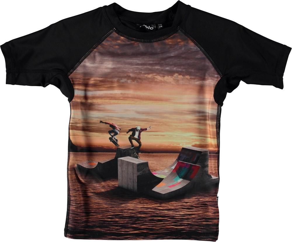 Neptune - Sunset Skate - Svømme t-shirt med solnedgang
