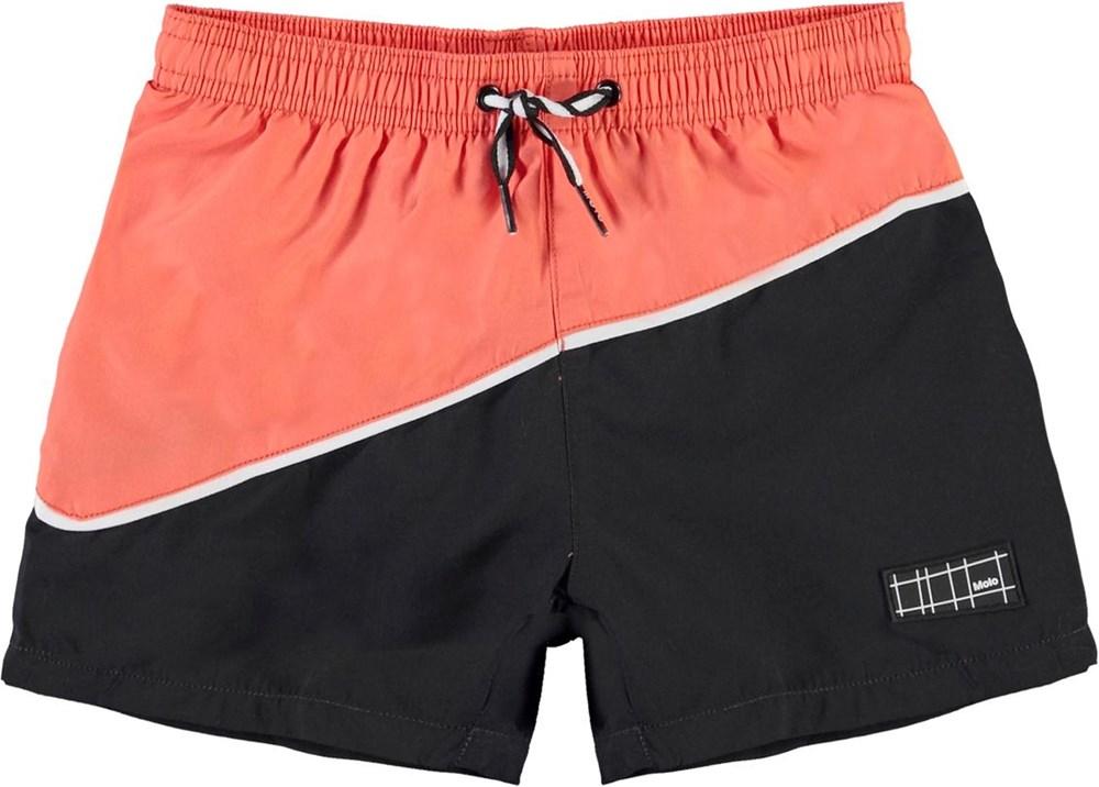Niko Block - Surf - UV sorte og røde badeshorts