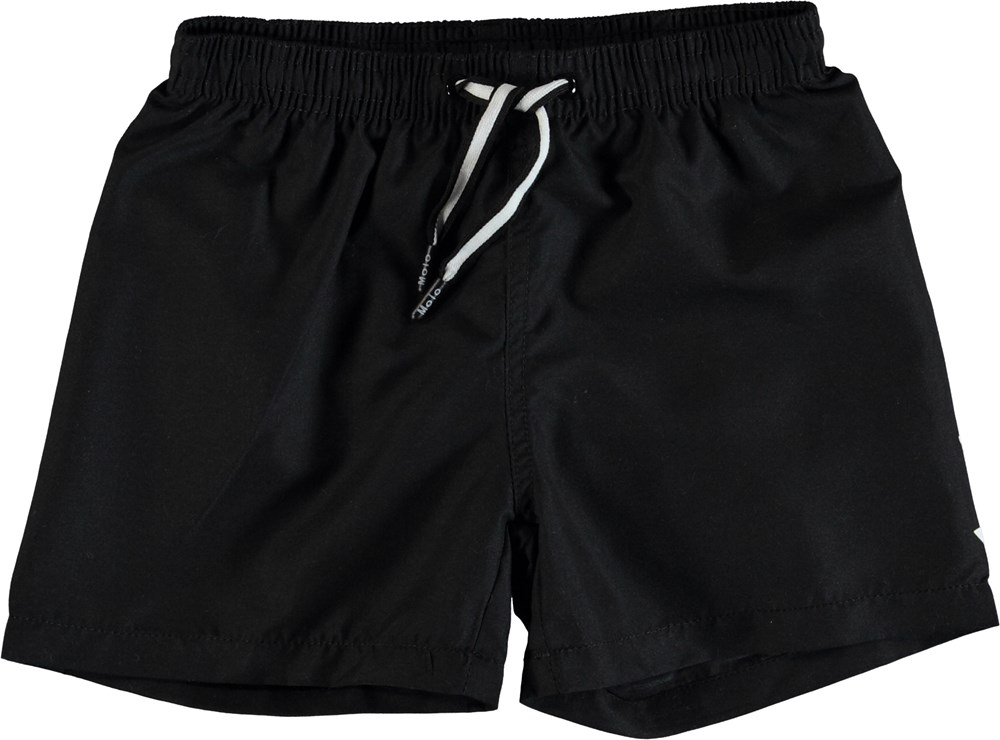 Niko Solid - Black - Sorte badeshorts