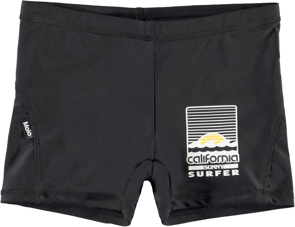 Norton Solid - Black - UV sorte korte badebukser