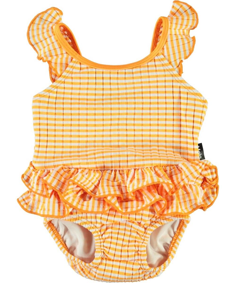 Nalani - Orange Stripe - Baby-baddräkt med orangea och vita ränder