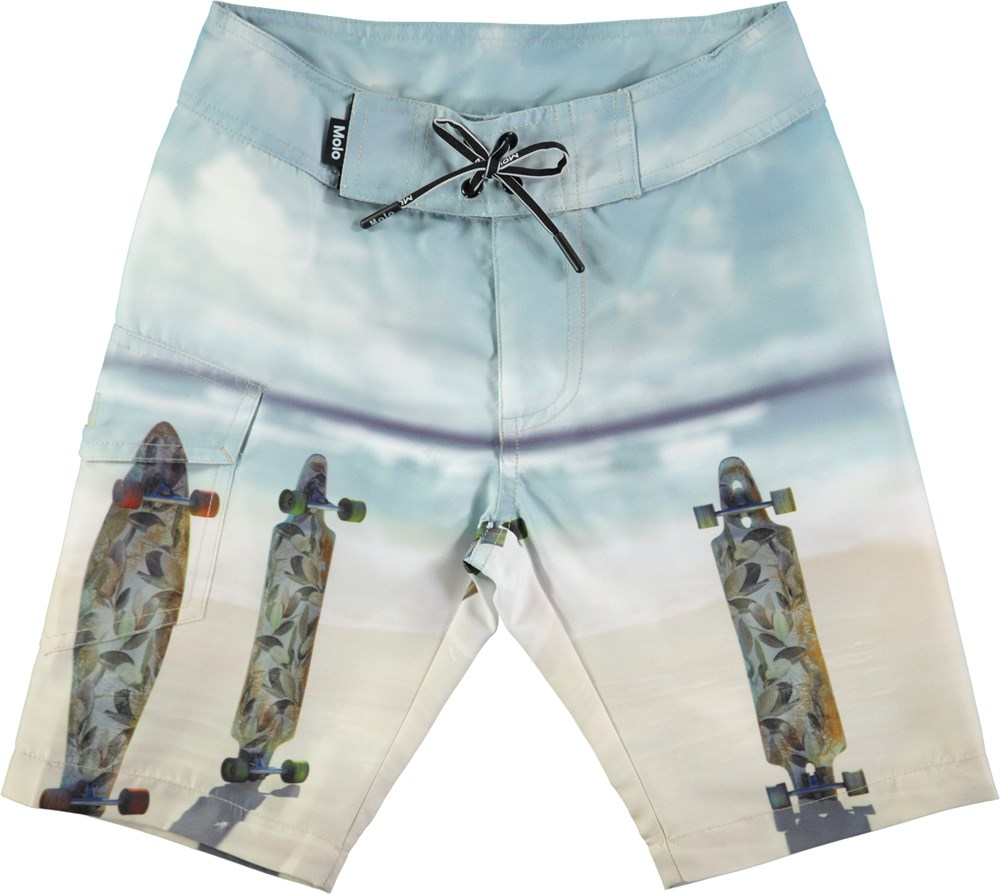 Nalvaro - Longboards - Loose fit boardies med digitaltryckta longboards
