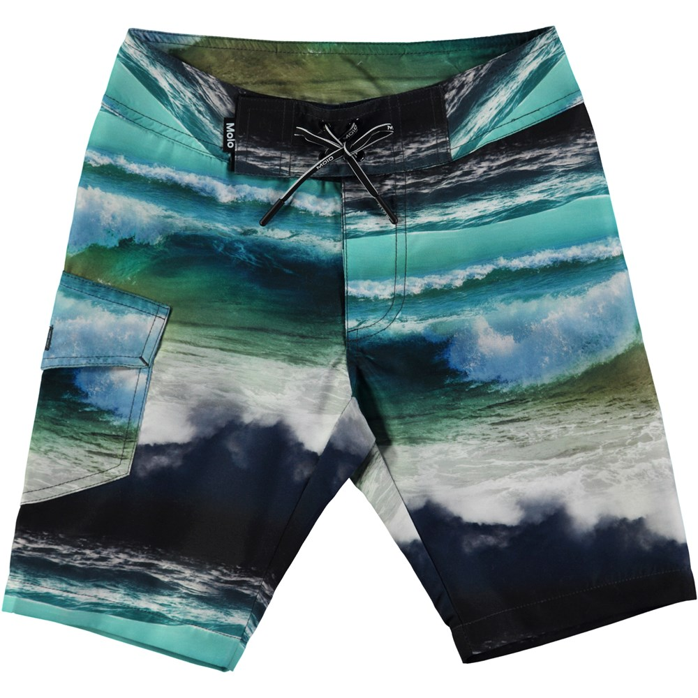 Nalvaro - Ocean Stripe - Loose fit boardies med digitalt havtryck