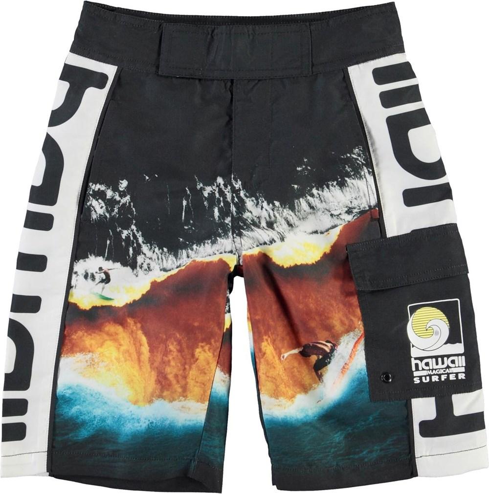 Natan - Colour Block Waves - Långa badshorts med Hawaii och UV-skydd