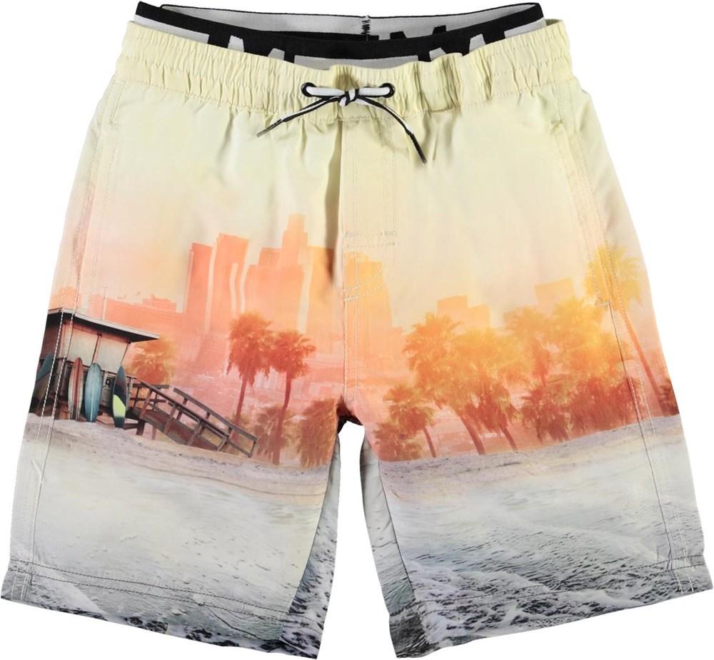 Neal - Off Shore - UV lange badeshorts med strand print