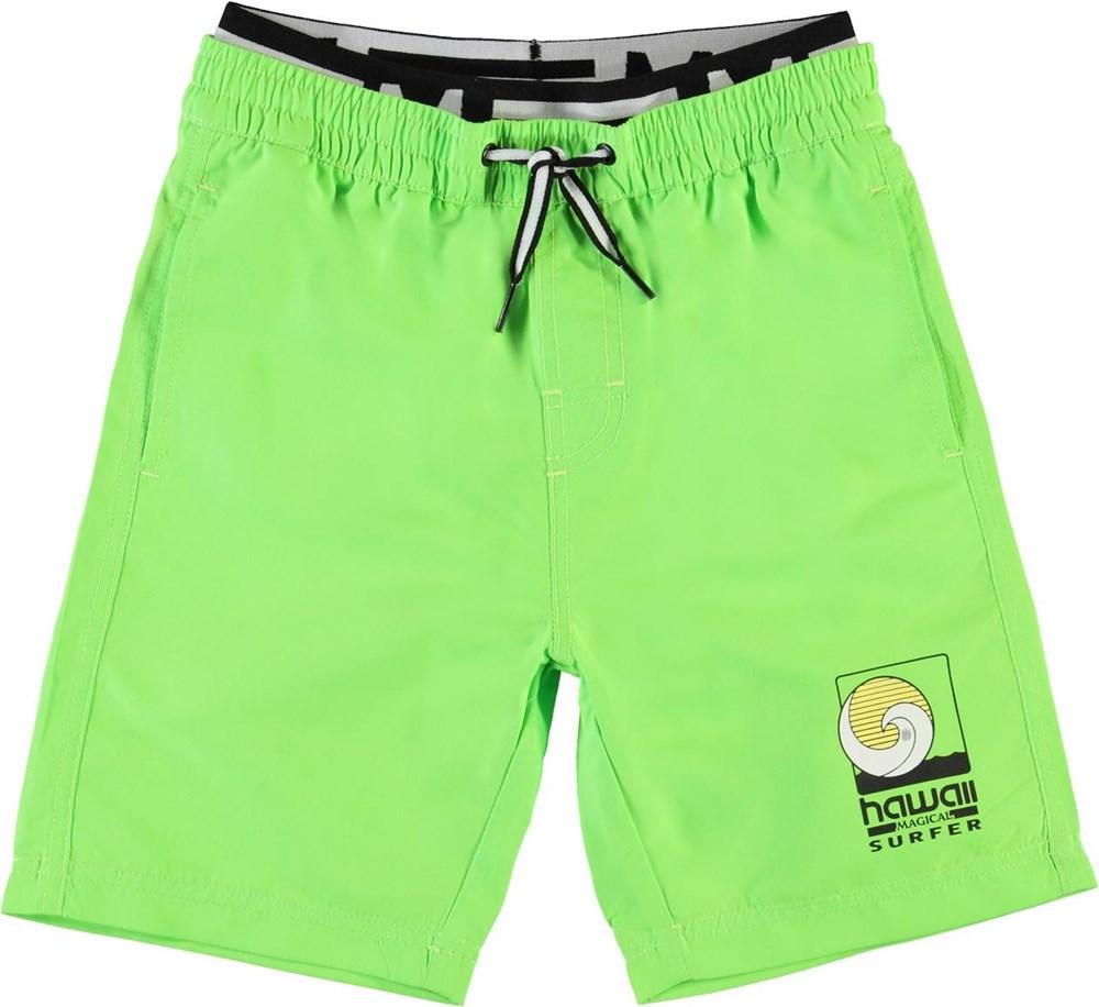Neal Solid - Scuba Green - Neongröna långa badshorts med UV-skydd