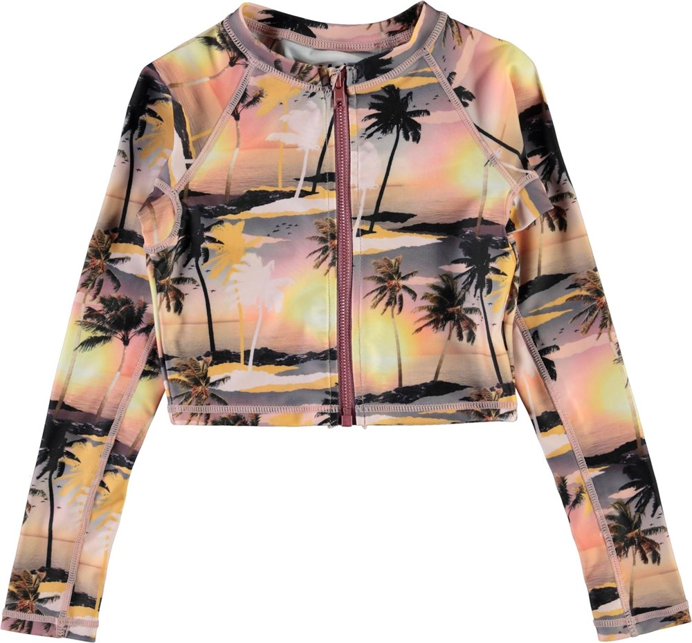 Nellie - Sunset - UV-badtröja med palmer och dragkedja
