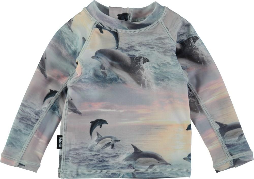 Nemo - Dolphins Sunset - Långärmad baby badtröja med digitaltryckta delfiner