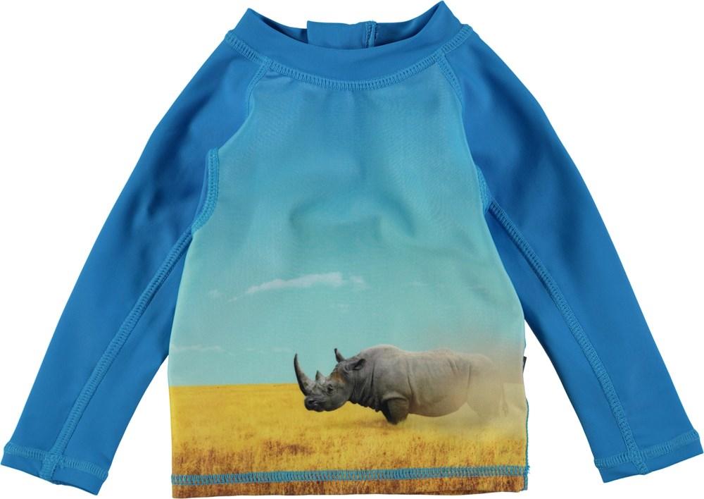 Nemo - Rhino - Långärmad baby badtröja med ett digitaltryckt noshörning