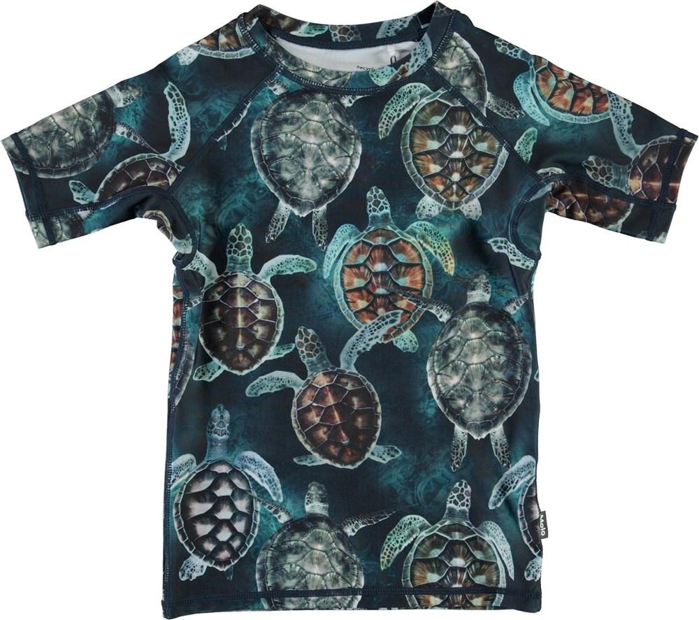 Neptune - Sea Turtles - Blå kortärmad UV-tröja med sköldpaddor