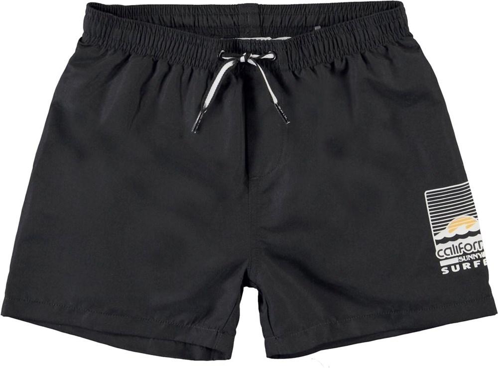 Niko Solid - Black - Svarta badshorts med UV-skydd