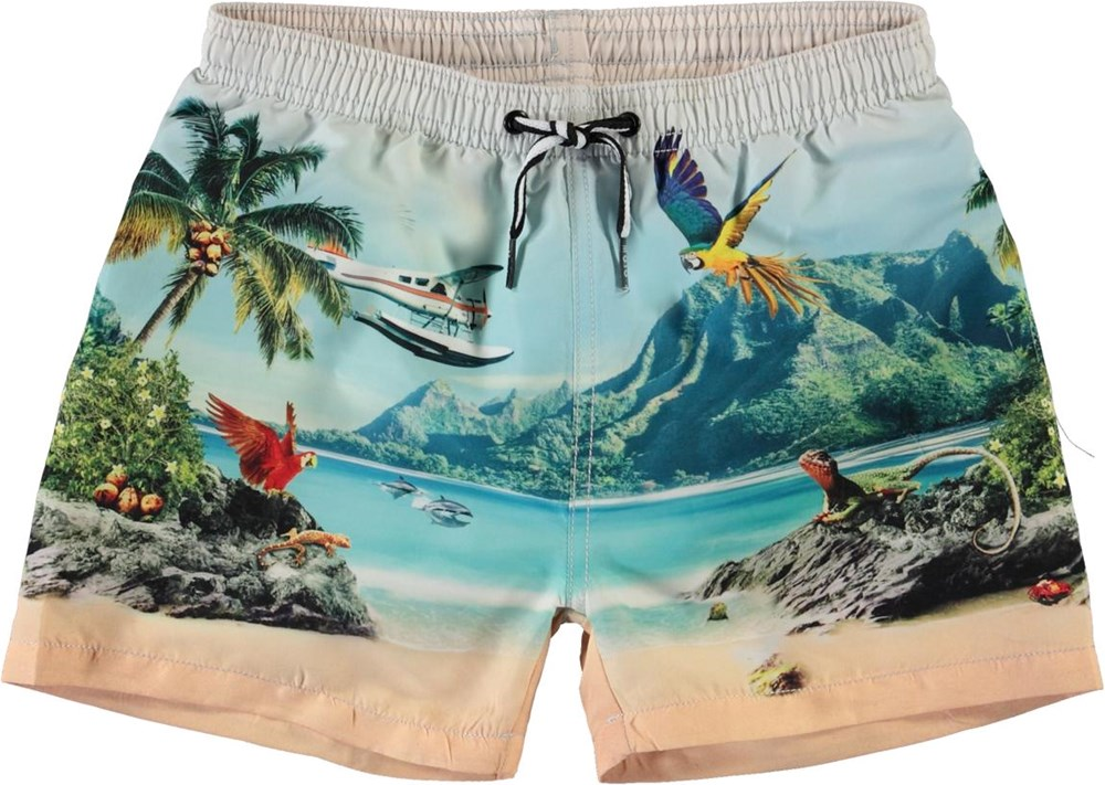 Niko - Welcome To Hawaii - UV-badshorts med delfiner och palmer