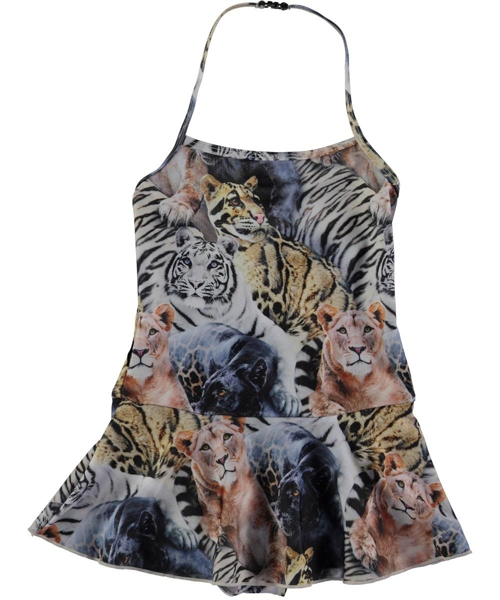 Noelle - Wild Cats Swim - baddräkt med volang och djurtryck - Molo 1846360b59f3a