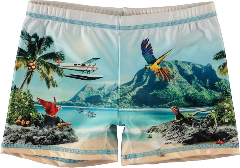 Norton Placed - Welcome To Hawaii - Korta badbuxor med UV-skydd och vattenflygplan