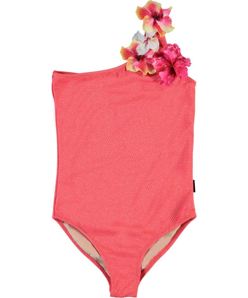 Nai - Coral Glitter - UV asymmetrische badpak in koraal rood en glitters