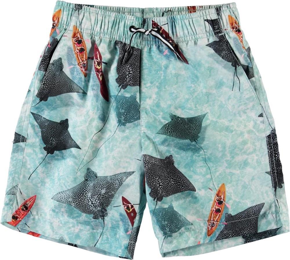 Nario - Hawaiian Ocean - Lange UV zwemshort met pijlstaartroggen print