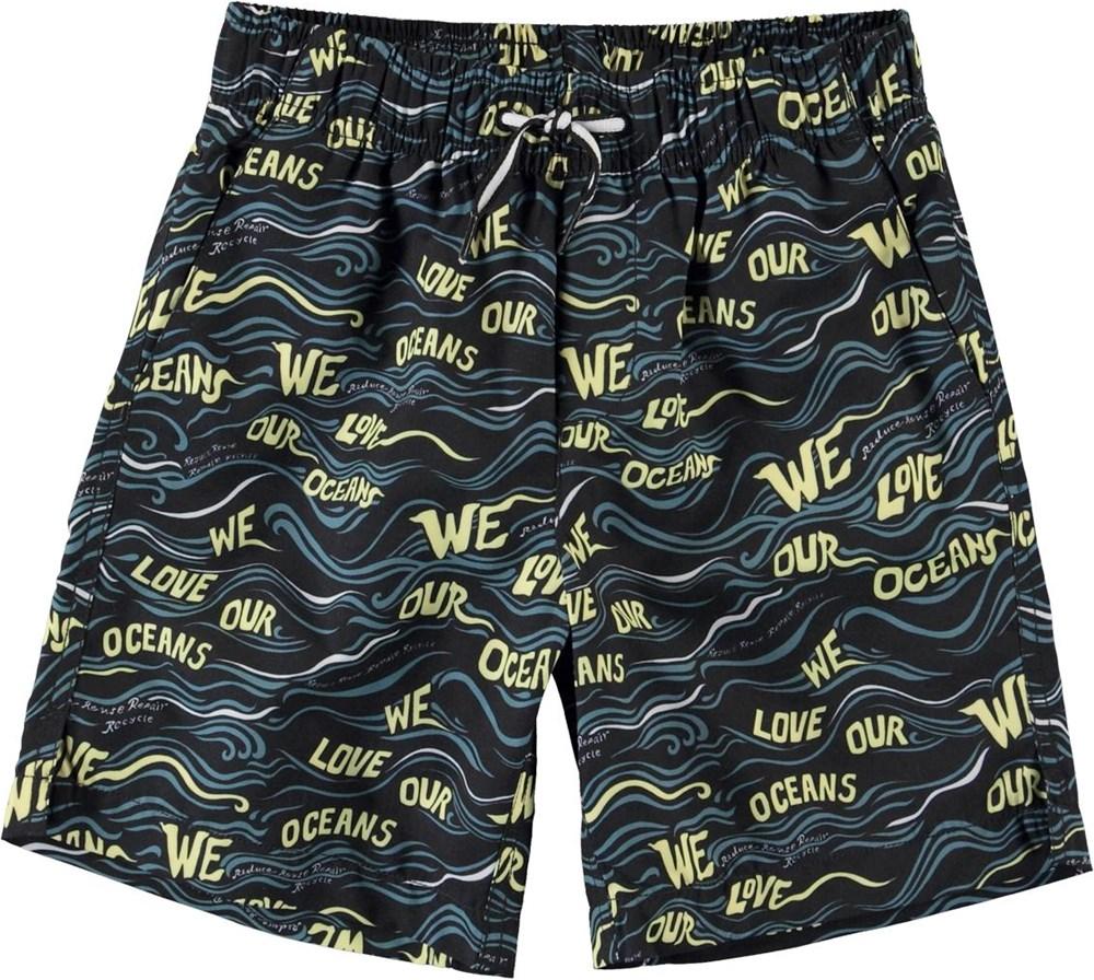 Nario - Weloveouroceanblack - Lange UV gerecyclede zwemshort oceaan