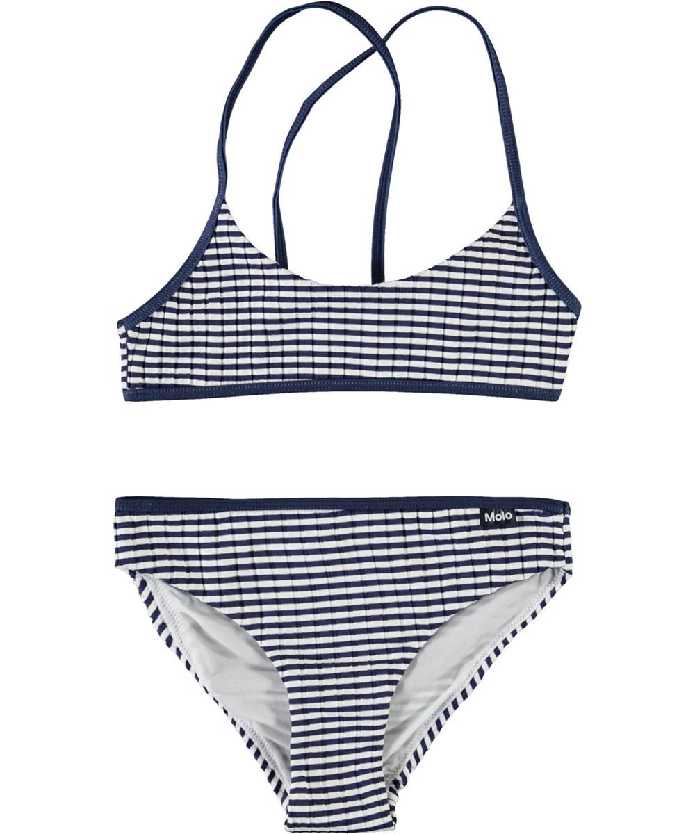 Neddy - Navy Stripe - Sportieve blauwe en witte gestreepte bikini