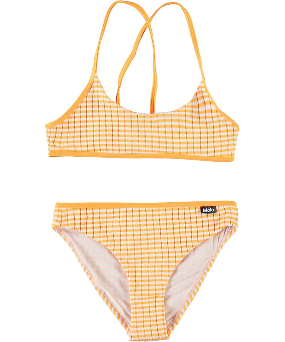 Neddy - Orange Stripe - Sportieve oranje en witte gestreepte bikini