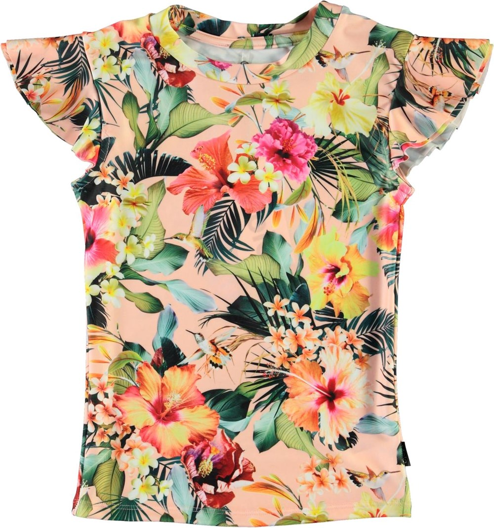 Neona - Hawaiian Flowers - UV zwemshirt met bloemenprint