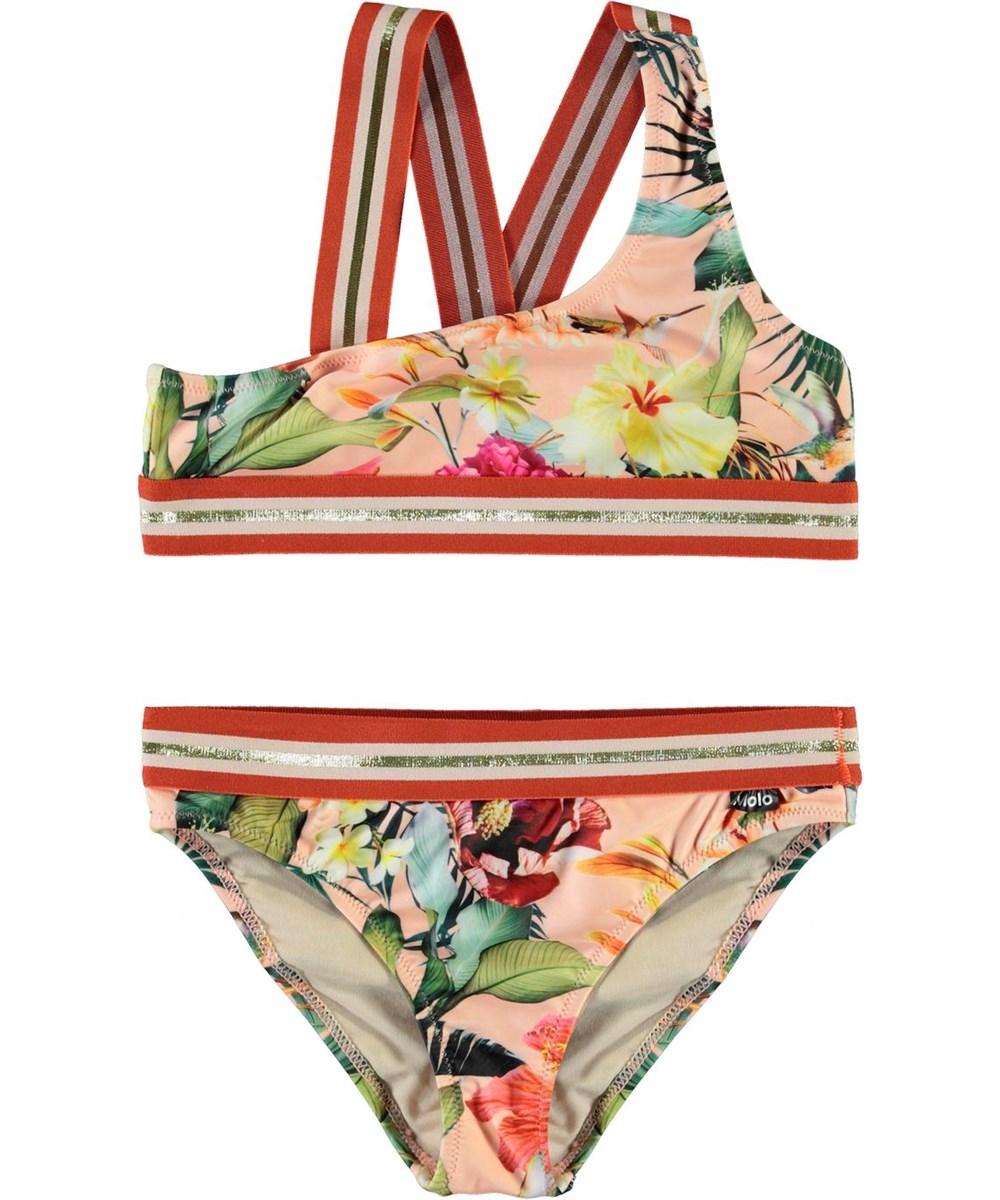 Nicola - Hawaiian Flowers - UV asymmetrische bikini met bloemenprint