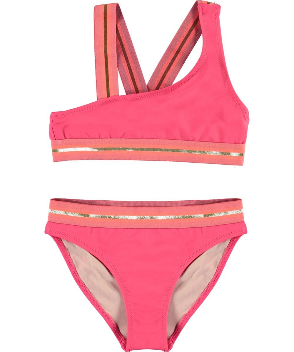 Nicola - Rasberry - UV asymmetrische bikini met gouden boord