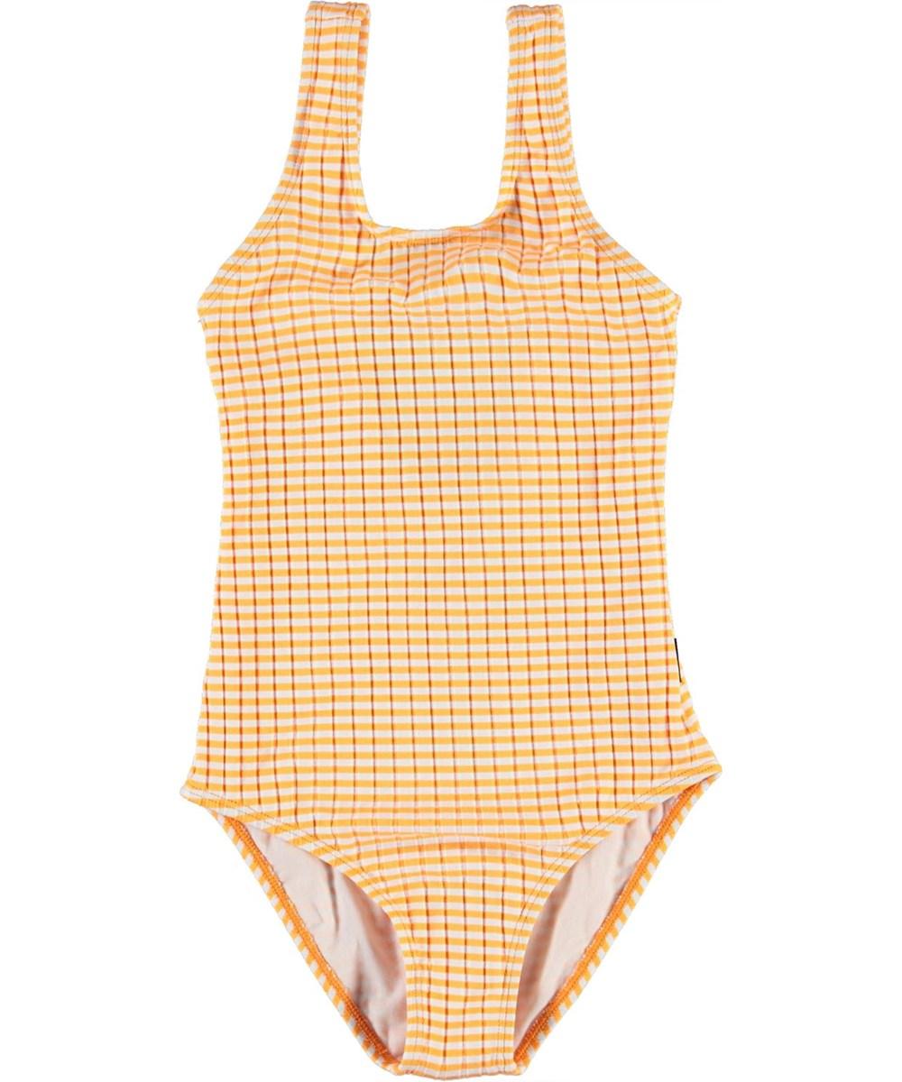 Nika - Orange Stripe - UV oranje en wit gestreepte badpak