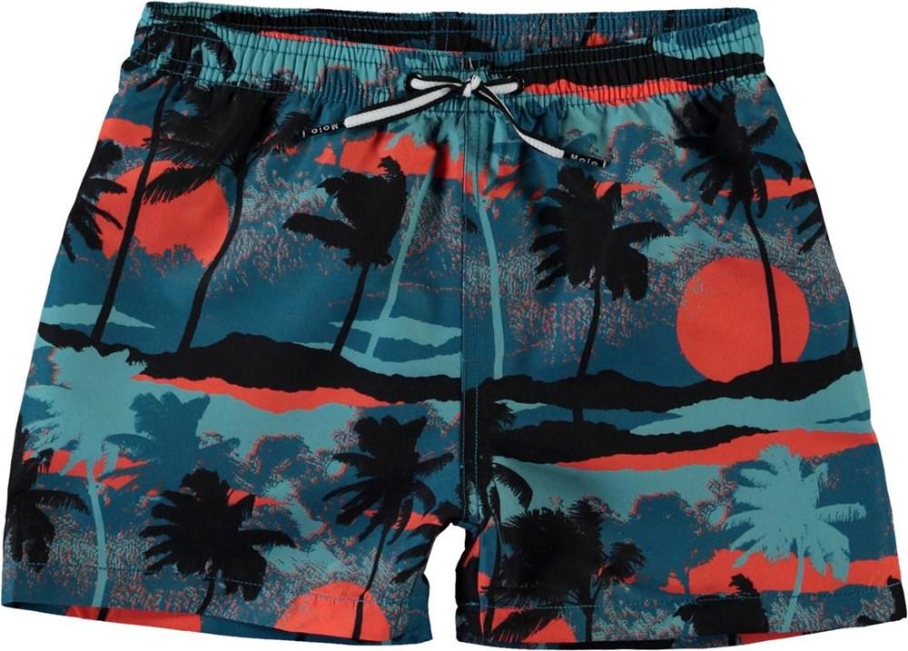 Niko - Palm Trees Blue - UV zwemshort met palmbomenprint