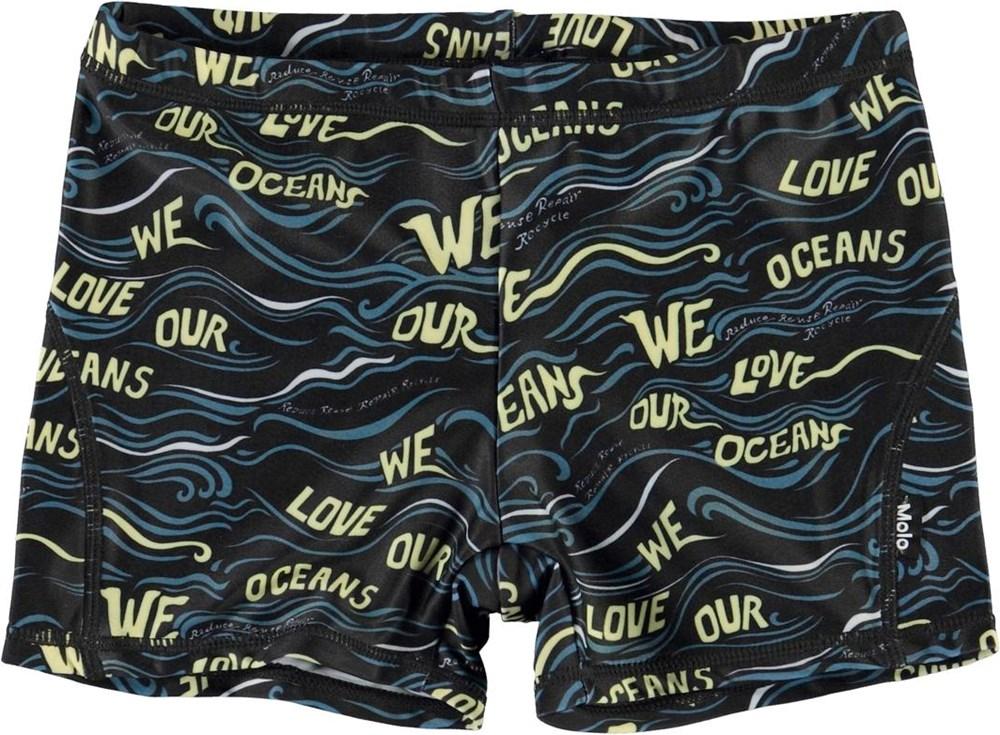 Norton - Weloveouroceanblack - UV gerecyclede zwembroek love ocean