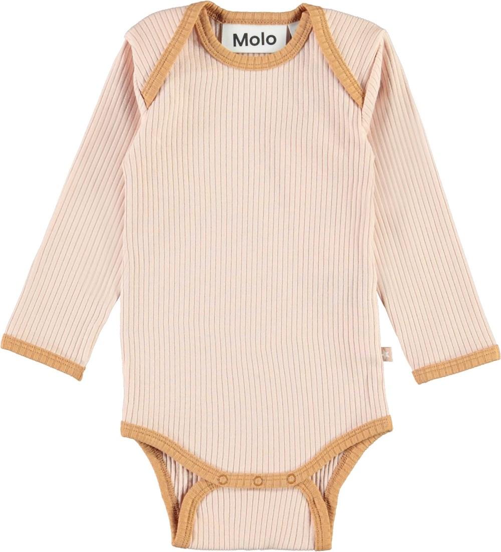Faros - Cameo Rose - Ekologisk rosa baby body med bruna kanter.