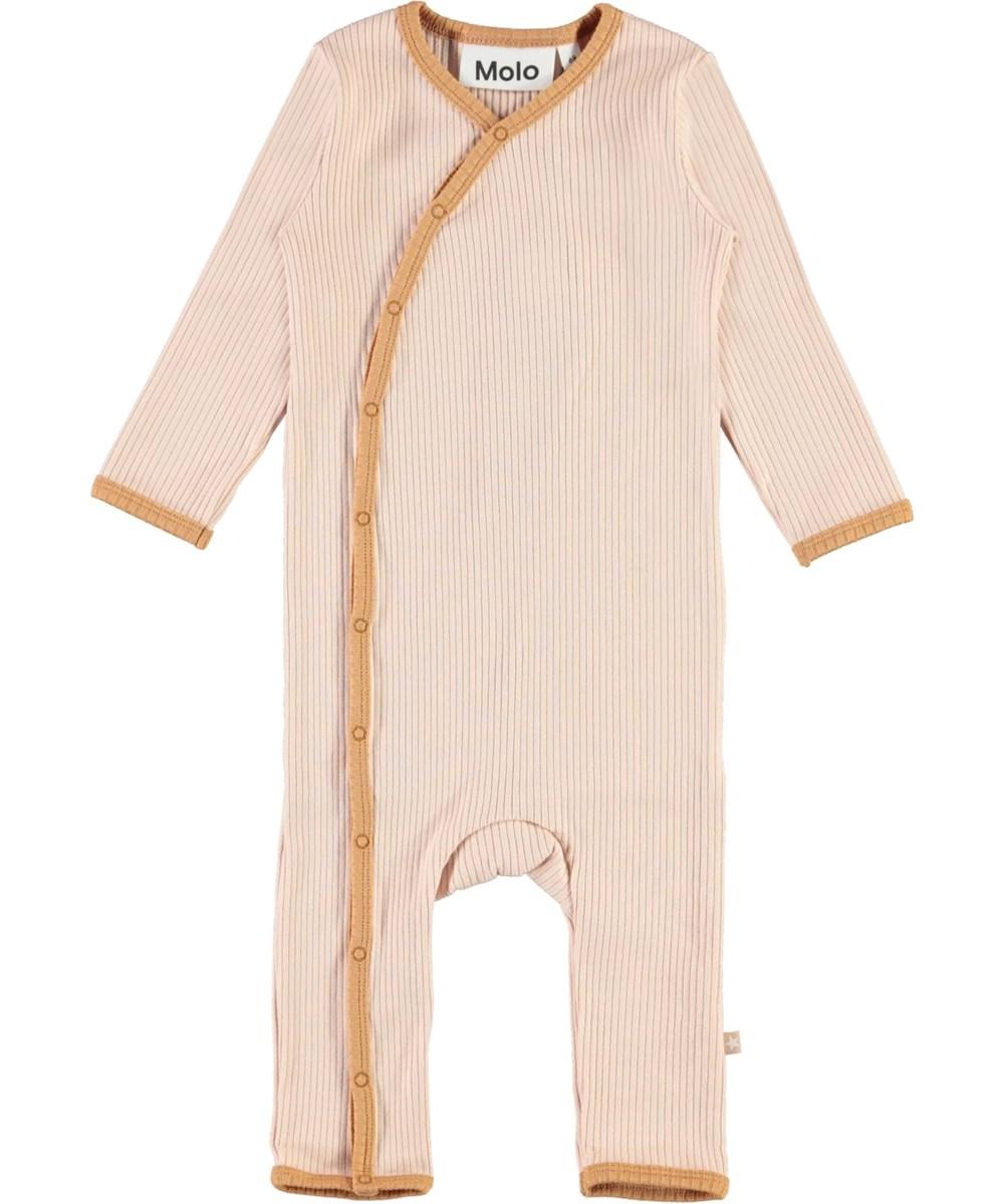 Fellow - Cameo Rose - Rosa baby body med lysebrune kantbånd