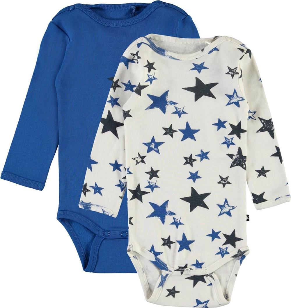 Foss 2-Pack - Cobalt - Økologisk 2-pack baby body blå og stjerner