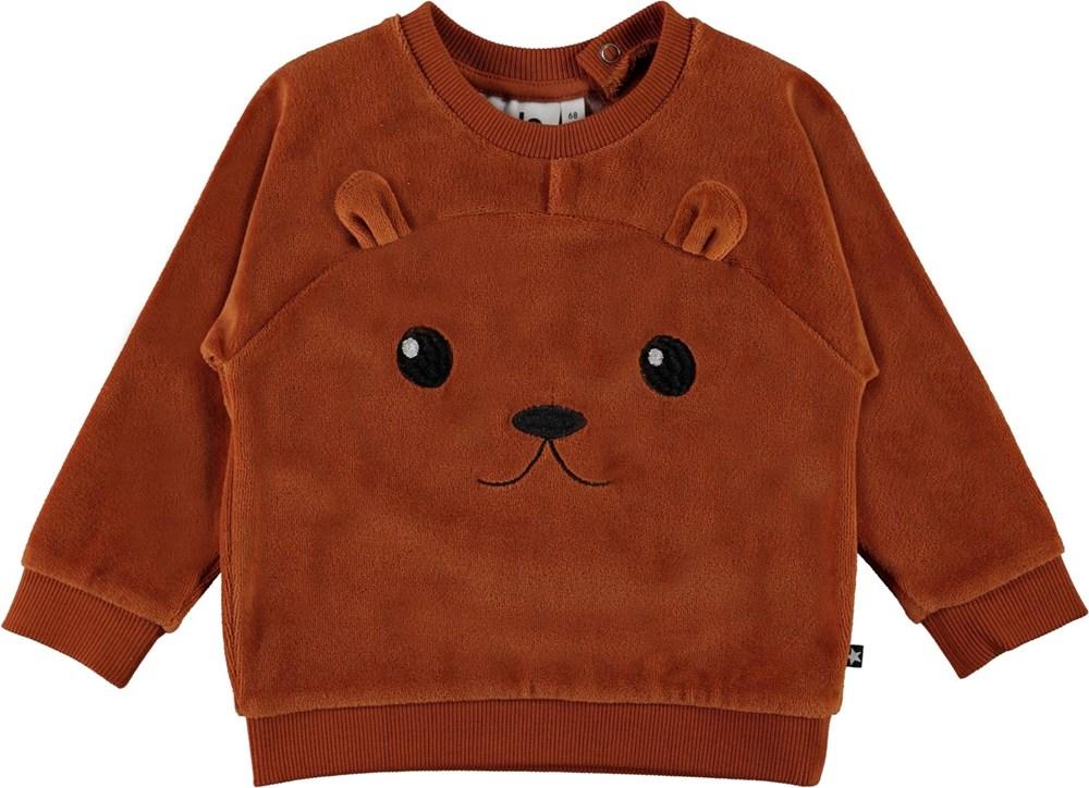 Derry - Iron - Brun tröja till baby med öron