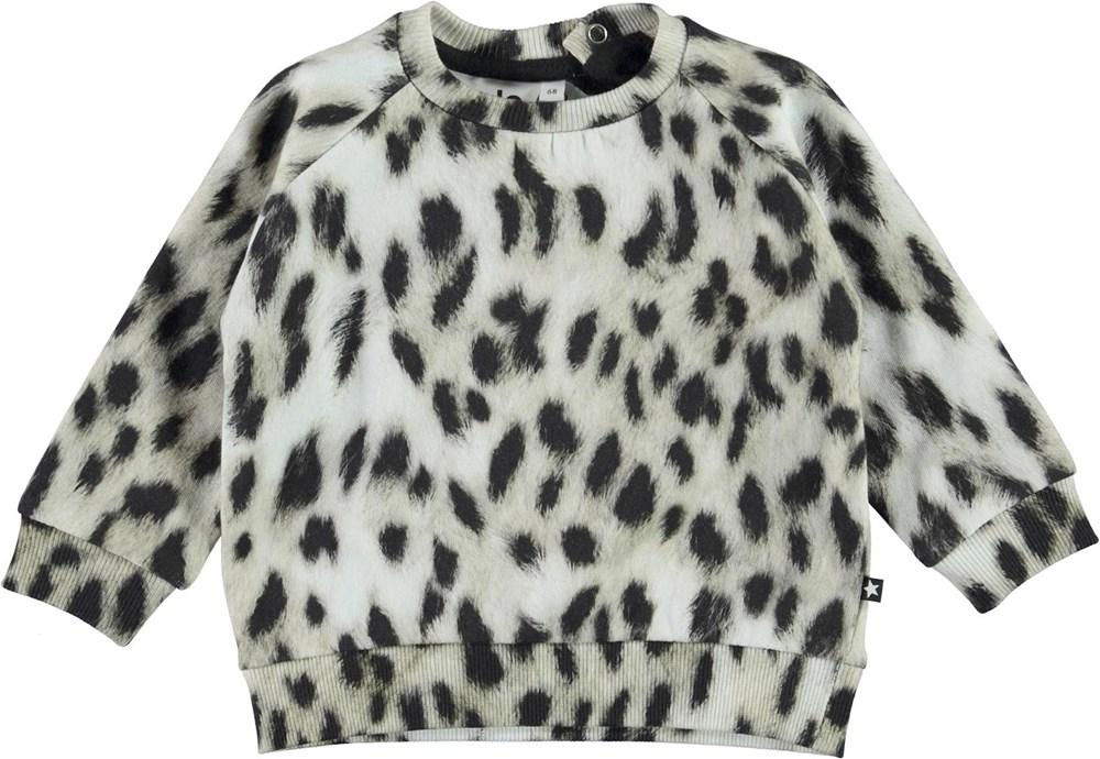 Disco - Snowy Leo Fur - Ekologisk babytröja med snöleopard