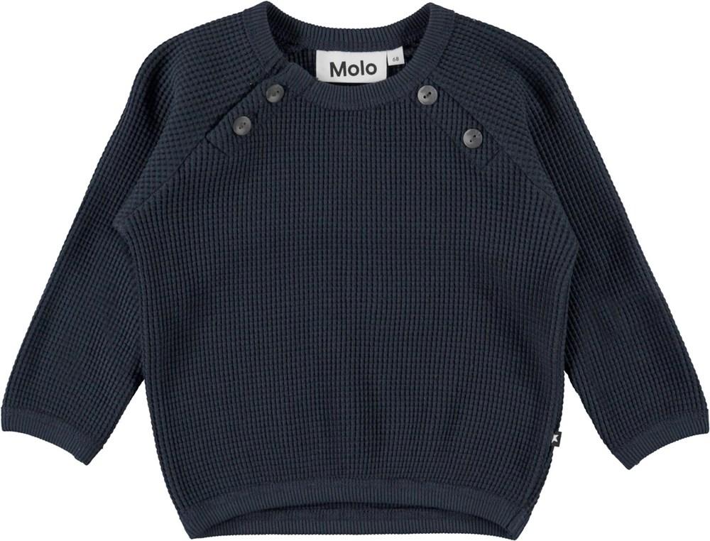 Dolly - Dark Navy - Mörkblå ekologisk babytröja i våfflad bomull.