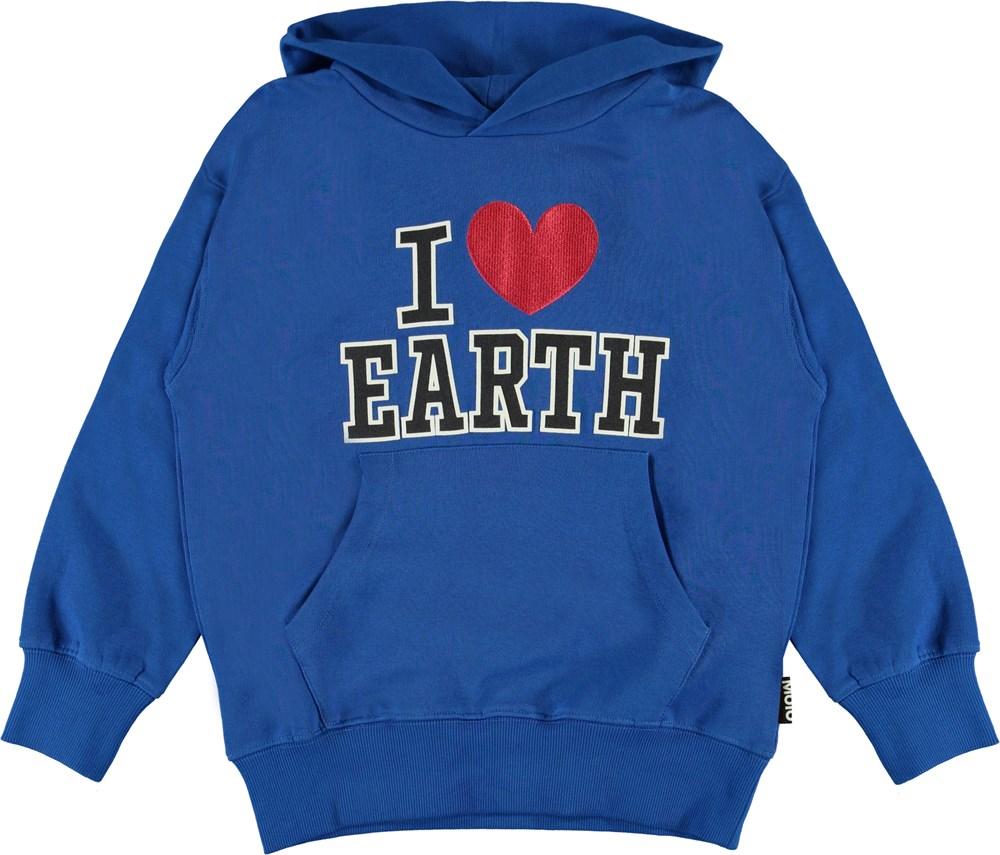 Moz - Cobalt - blå hoodie I love earth