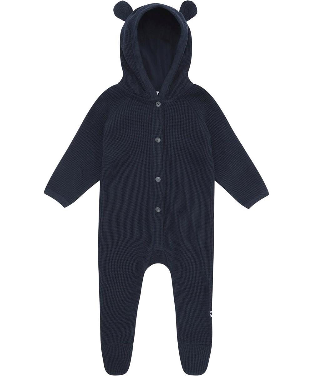 Faith - Dark Navy - Dark blue baby romper with hood and ears