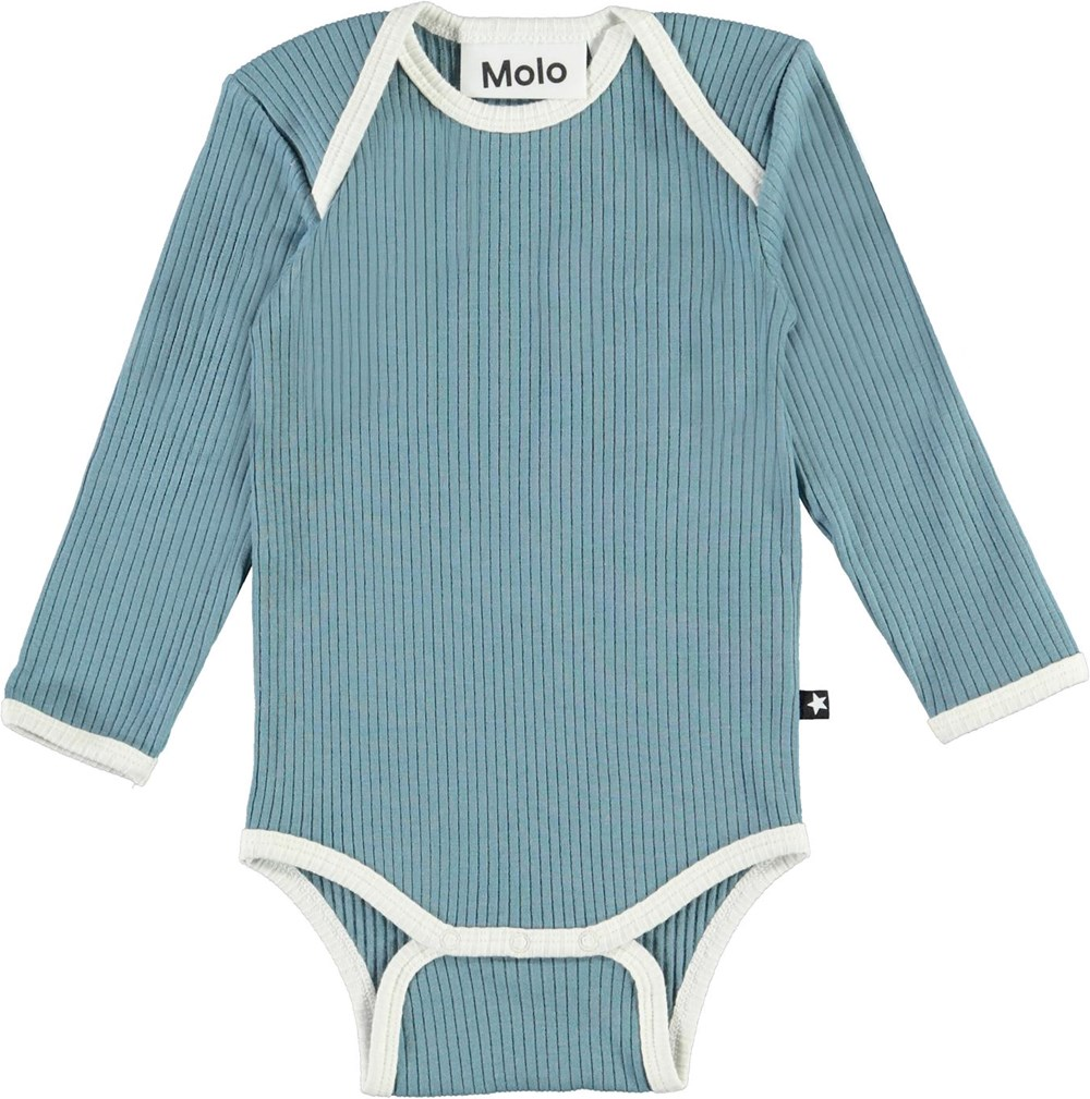 Faros - Aero - Light blue organic baby bodysuit with light coloured edges