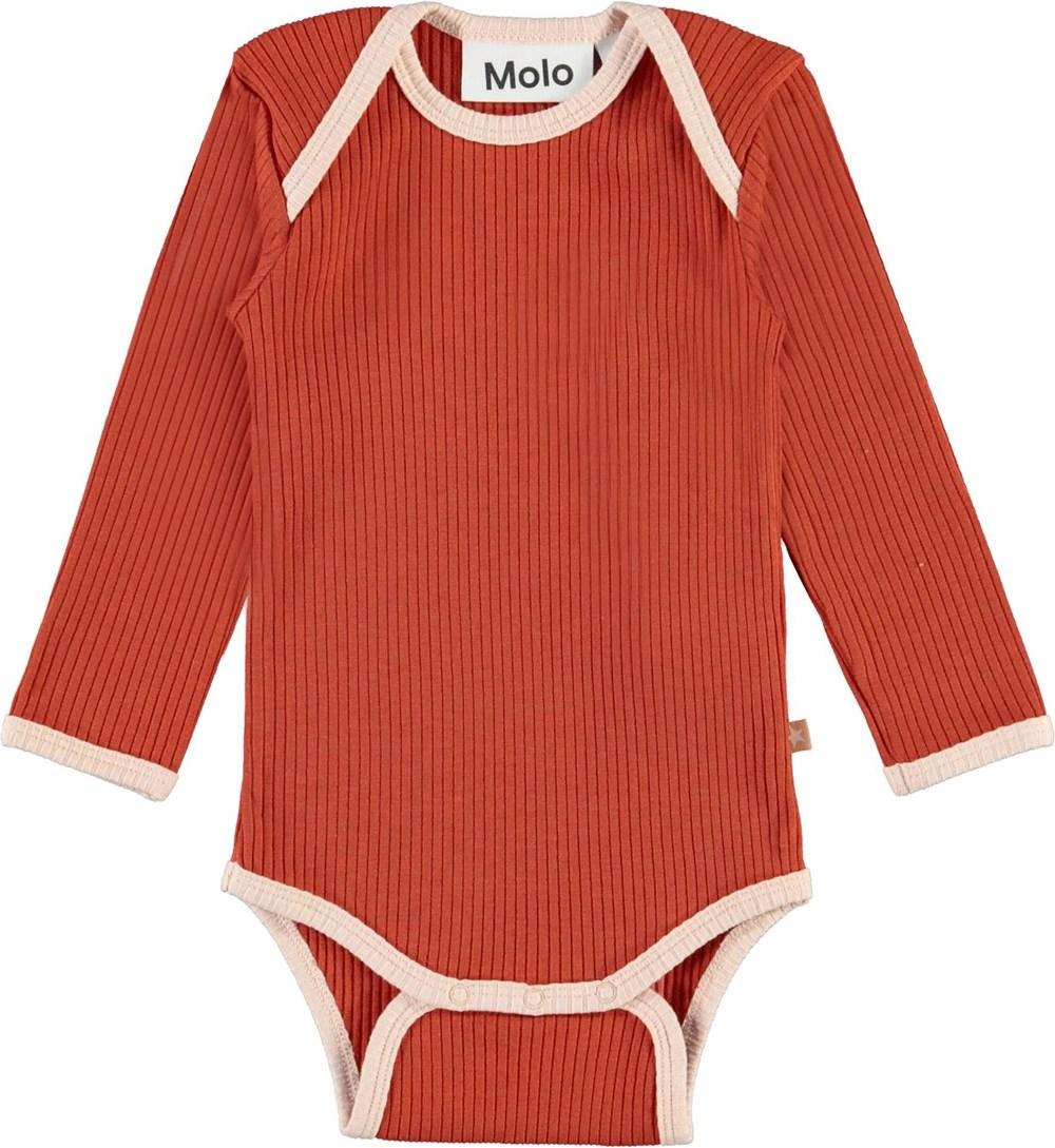 Faros - Burnt Brick - Dark red baby bodysuit with pink edges