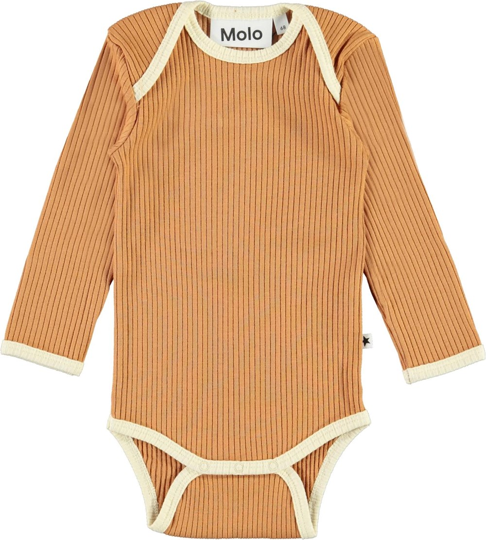 Faros - Deer - Brown organic baby bodysuit with light yellow edges