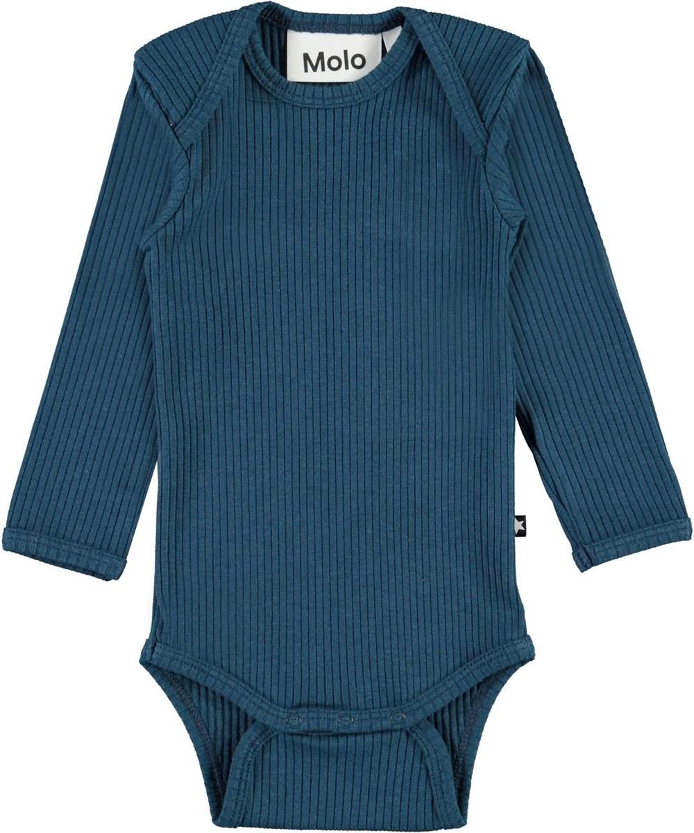 Faros - Sea - Blue organic baby bodysuit