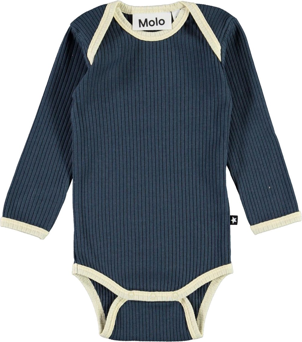 Faros - Summer Night - Dark blue baby bodysuit with stripes