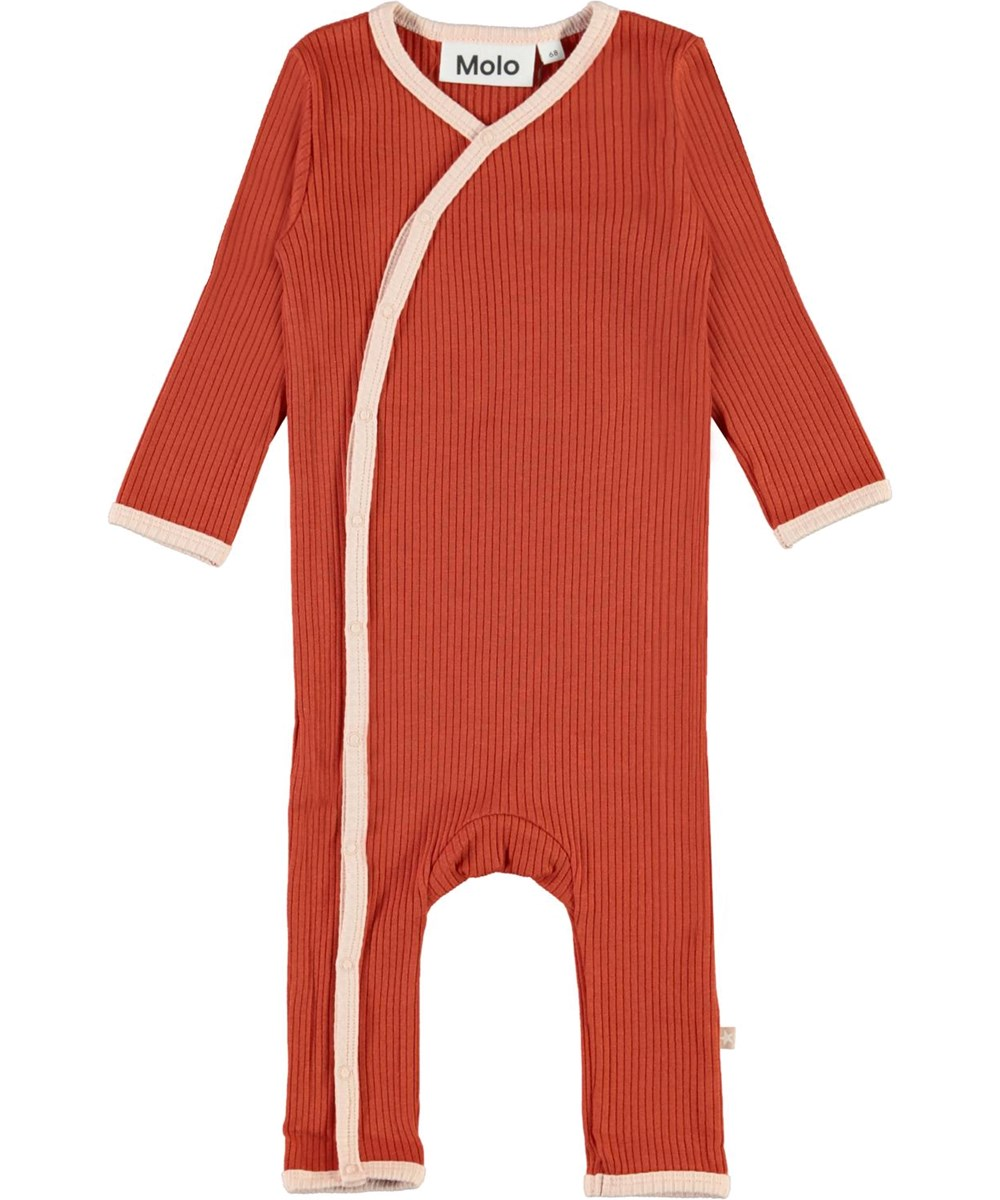 Fellow - Burnt Brick - Dark red baby bodysuit with pink edge tape