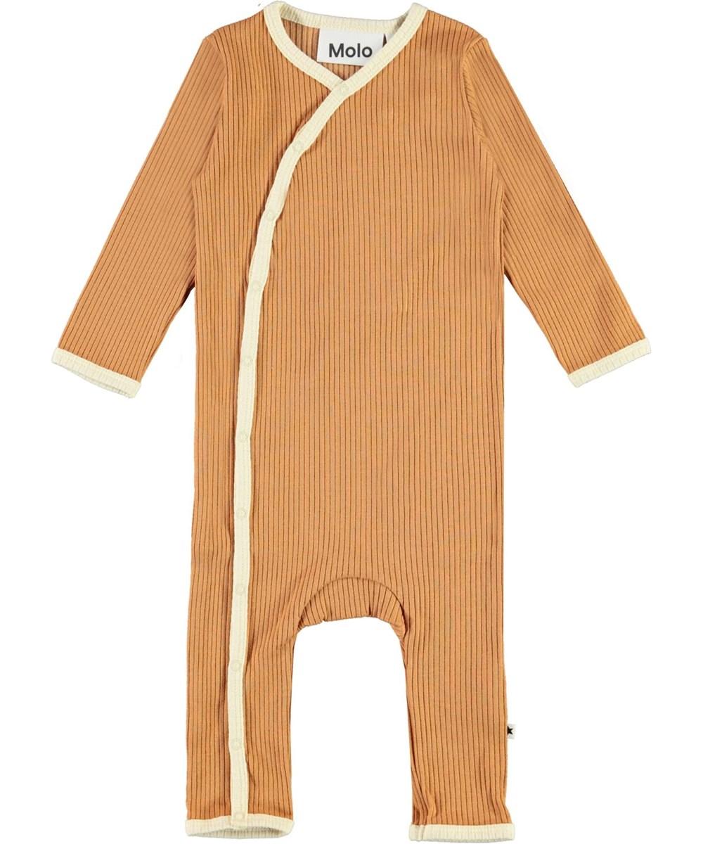 Fellow - Deer - Brown baby bodysuit with light yellow edge tape.