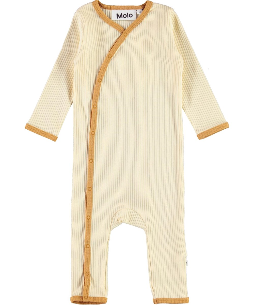 Fellow - Marzipan - Light coloured baby bodysuit with golden edge tape