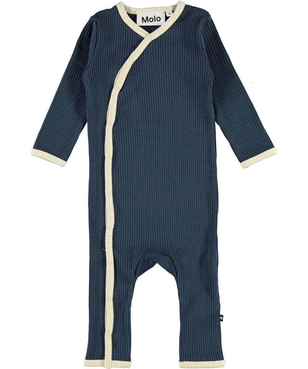 Fellow - Summer Night - Dark blue baby bodysuit with white edge tape