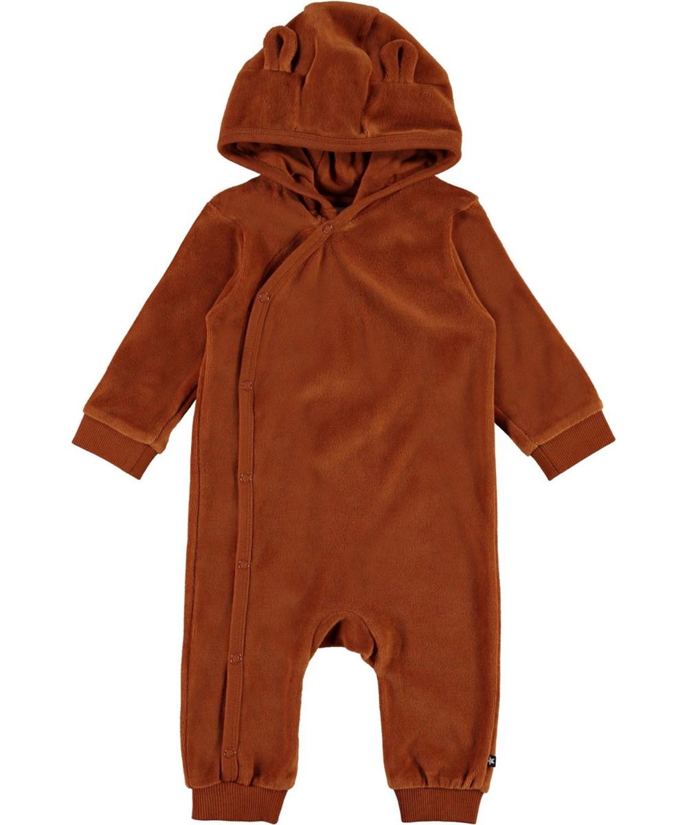 Forest - Iron - Brown velour baby romper with hood with ears